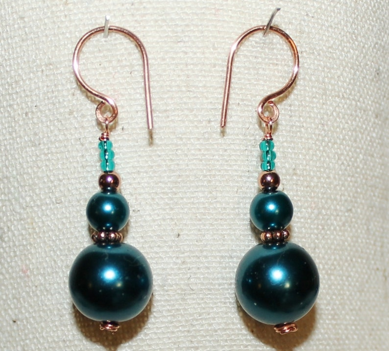 Pearly Peacock Blue Czech Glass Artisan Crafted Solid Copper Necklace Earring Set in Gift Box ~ Made in USA