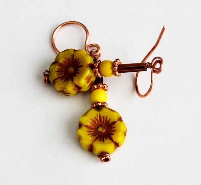 Yellow Brown Czech Glass Sun Flower Earrings in Gift Box ~ Made in USA