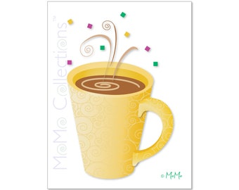 Printable Birthday Card (Belated Latte): Digital Download Card, Original Colorful Designs, Catchy Verses, For Her, Him, Friend & Family