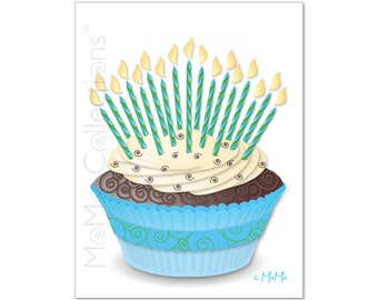 Printable Birthday Card (Cupcake + Candles): Digital Download Card, Original Colorful Designs, Catchy Verses, For Her, Him, Friend & Family
