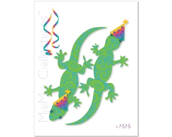 Printable Birthday Card (Party Geckos): Digital Download Card, Original Colorful Designs, Catchy Verses, For Her, Him, Friend or Family