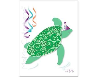 Printable Birthday Card (Party Sea Turtle): Digital Download Card, Original Colorful Designs, Catchy Verses, For Her, Him, Friend & Family