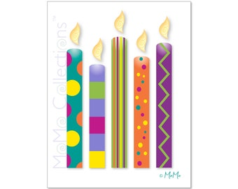 Printable Birthday Card (Birthday Candles): Digital Download Card, Original Colorful Designs, Catchy Verses, For Her, Him, Friend & Family