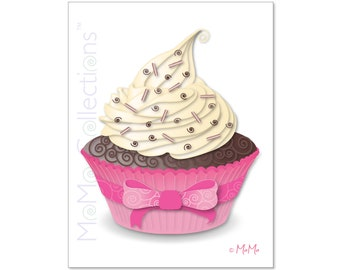 Printable Birthday Card (Pink Cupcake): Digital Download Card, Original Colorful Designs, Catchy Verses, For Her, Him, Friend & Family