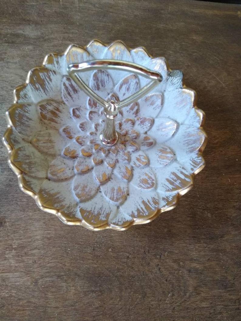 Vintage Haeger 22k Gold Tweed Cover Dish