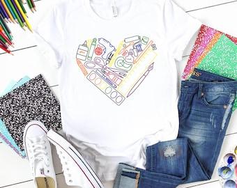 heART Supply Shirt (Rainbow Graphic), Art Teacher Shirt, Art Supply Shirt, Art Supply Heart, Craft Supply Shirt, Teacher Shirt, Art Shirt