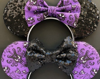 Haunted Mansion Wallpaper Print Mouse Ears - Custom Bow