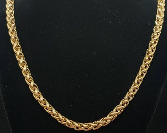 """Beautiful Decorative Vintage Late 20th Century Circa 1980s Statement Design Thick Heavy Yellow Gold Plated Rolled Gold Wheat Chain - 18"""""""