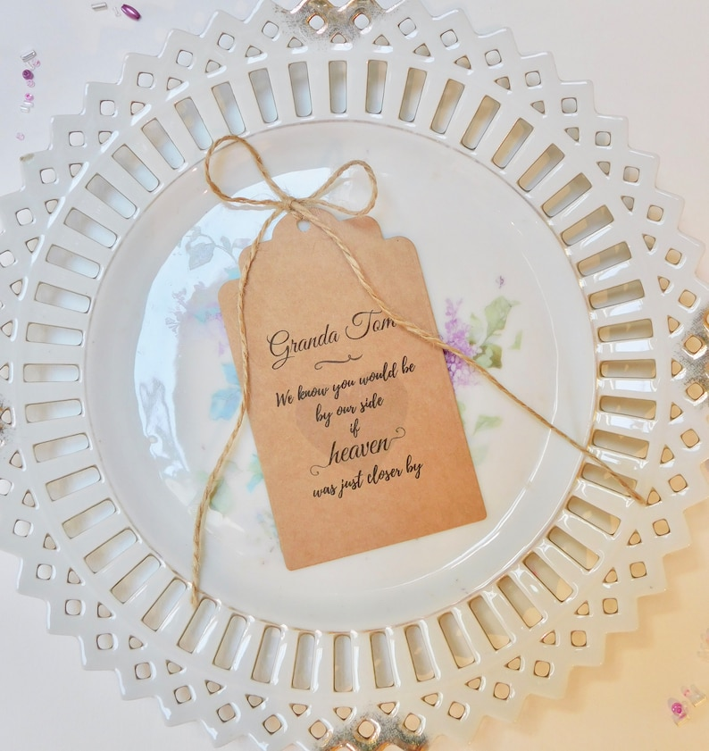Wedding Memory Tags For Those Who Cannot Be Here Wedding Tags Personalised Memory Tags Personalised Rustic Wedding Decor