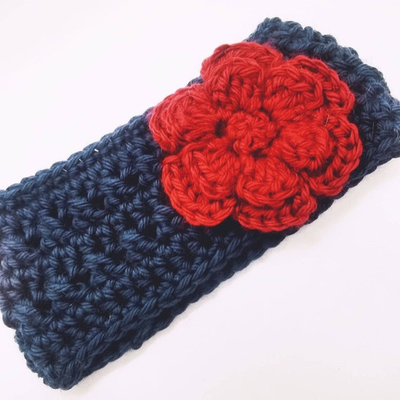 Child and Infant Sizes Available Crochet Headband with Flower Crochet Ear Warmer Adult Coral Pink and Mint Green Ear Warmer