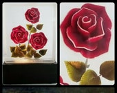 Vintage Eterna Mid-Century Roses in Lucite Lamp Night Light Flowers 40 s 50 s
