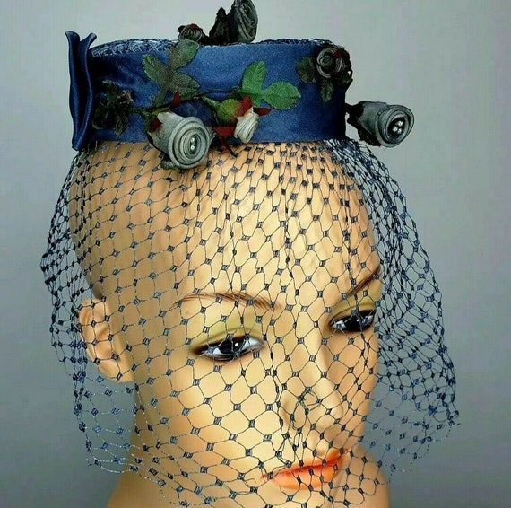 Vintage Fascinators 50s Hat Millinery Blue Roses N