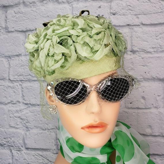 Vintage 60s Green Rose Millinery Floral Birdcage P