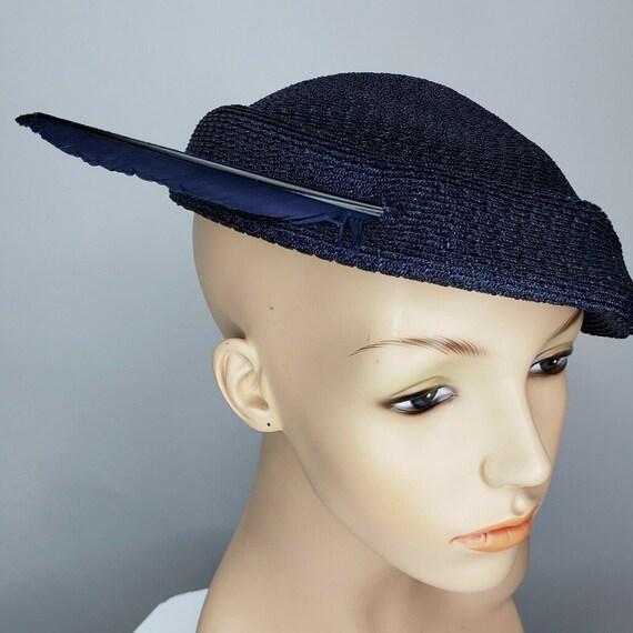 Vintage Ken Blair 1950s Capulet Hat Blue Red Hat F