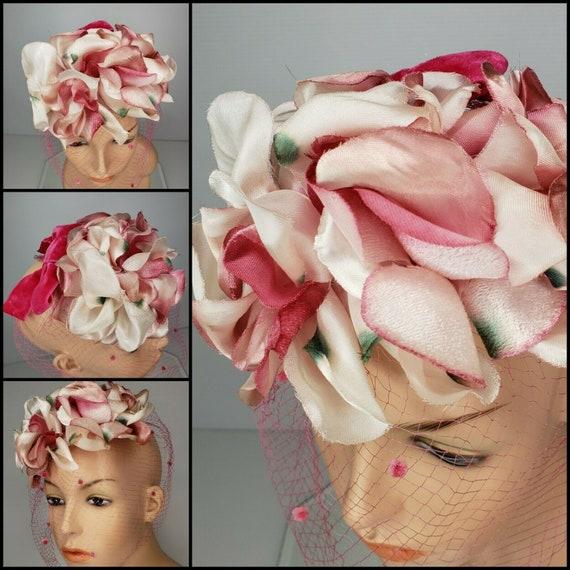 Vintage Silk Rose 50s Fascinator Hat & Vinyl Flor… - image 3