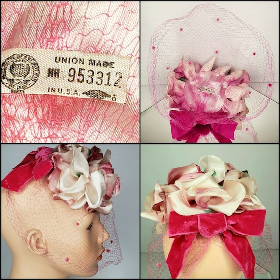 Vintage Silk Rose 50s Fascinator Hat & Vinyl Flor… - image 9