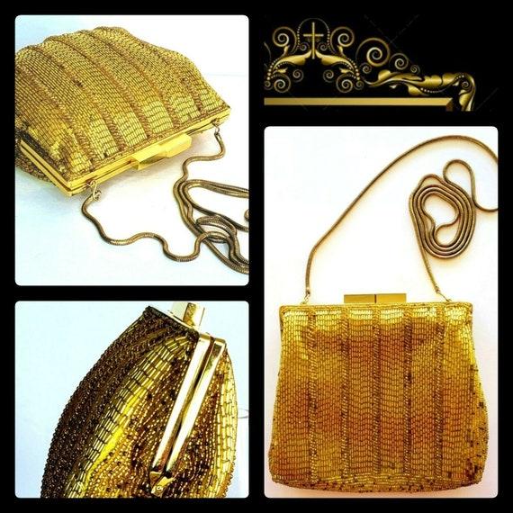 Vintage Golden Goddess Evening Bag Snake Chain Bea