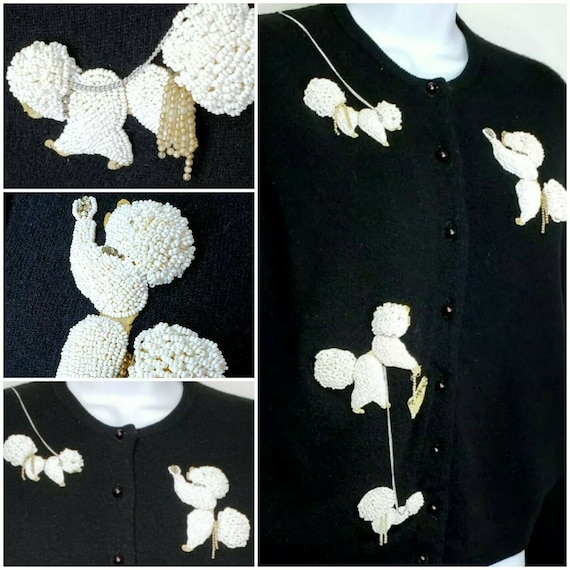 Vintage Poodle Sweater 1950s Black White Beaded Ca