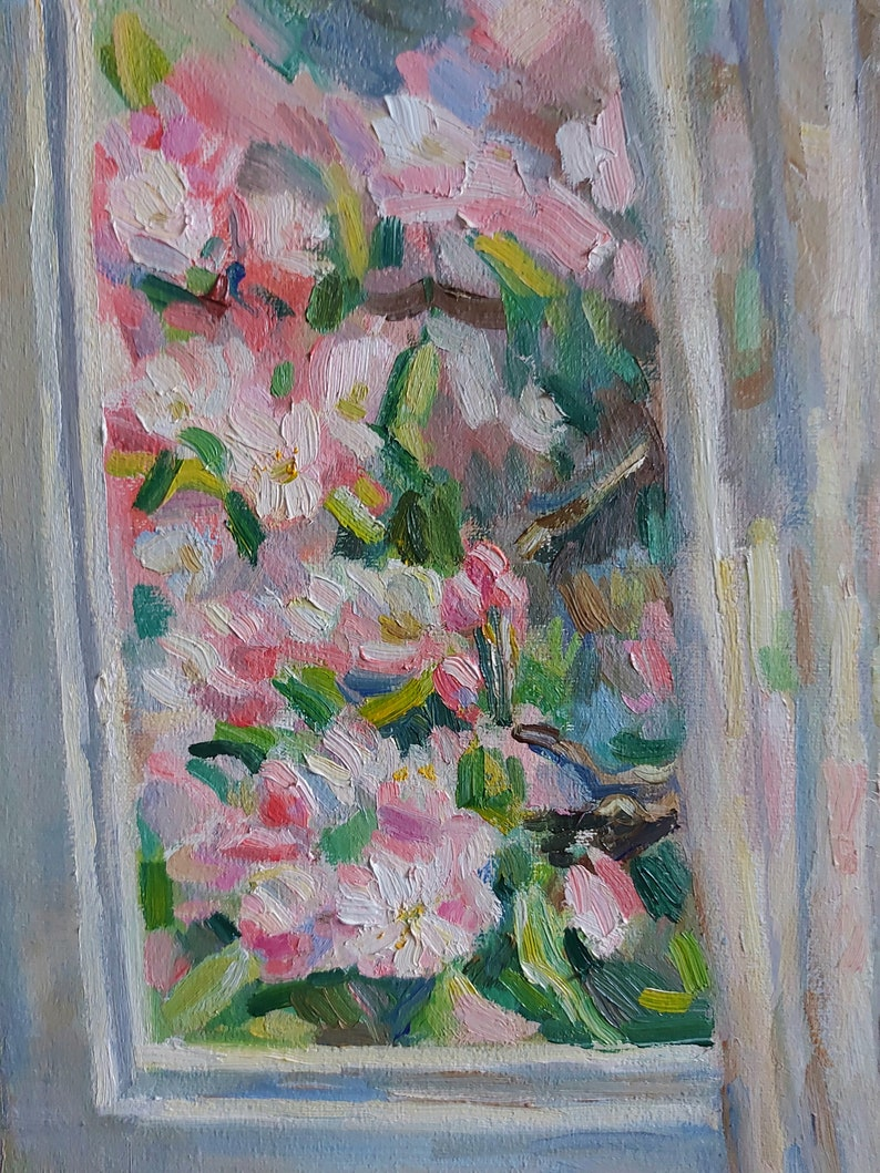 spring painting impressionism painting spring art almond flowers painting cat art Original cat oil painting animal oil painting