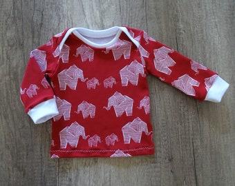 "Organic Baby Shirt ""Elephants"" Size 56-92 Cherry Red, Girl, Boy"