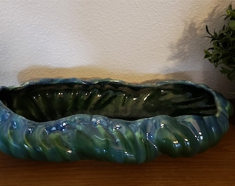 Vintage 1940's Mid Century Royal Haeger Pottery Centerpiece Console Bowl R 371 Green Agate Drip Glaze Oval Scalloped Edge