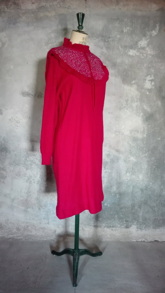 vintage raspberry red knit dress 1970