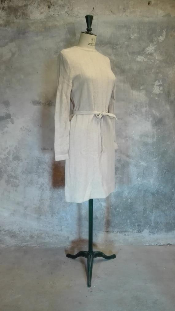 JEAN DESSES vintage 1960 fancy ecru wool jersey dr