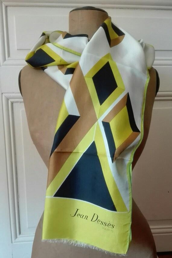 JEAN DESSES scarf in vintage silk twill 1960 1970