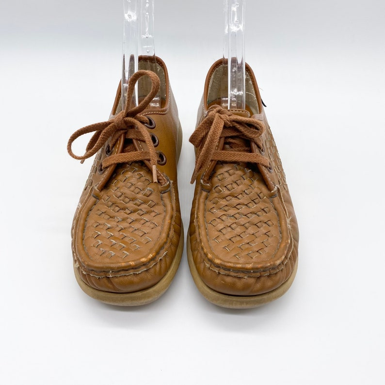Vintage SoftSpots Weave Wedge Lace-up Leather Loafers 70s Show Grandma Size 7