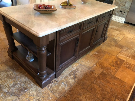 Custom Kitchen Island With Large Furniture Legs Etsy