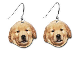 9ae82d5c9 Golden Retriever Puppy Dogs Costume Earrings - Flat Earring With Silver  Hoops and Rings Great Gift Idea!