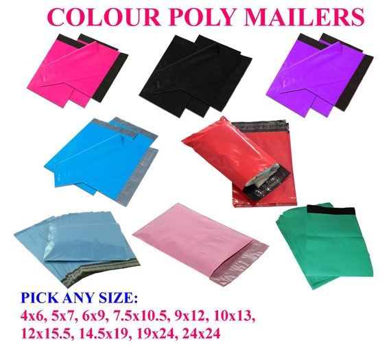 """4/"""" x 6/"""" SHIPPING ENVELOPES POLY MAILERS SELF SEALING MAILING BAGS PLASTIC COLOUR"""