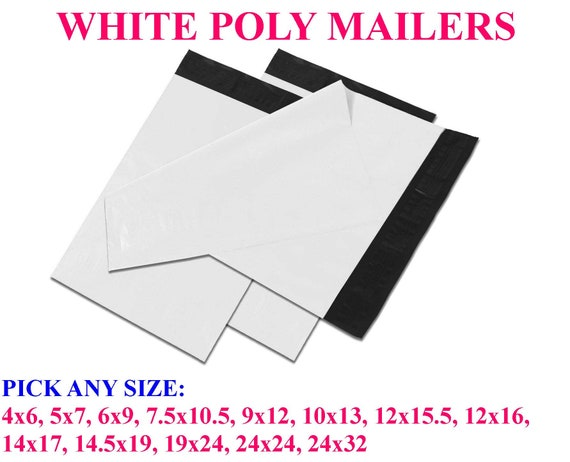 """500 Poly Mailers size 7.5/"""" x 10.5/"""" Shipping Bags Plastic Mailing Envelopes White"""