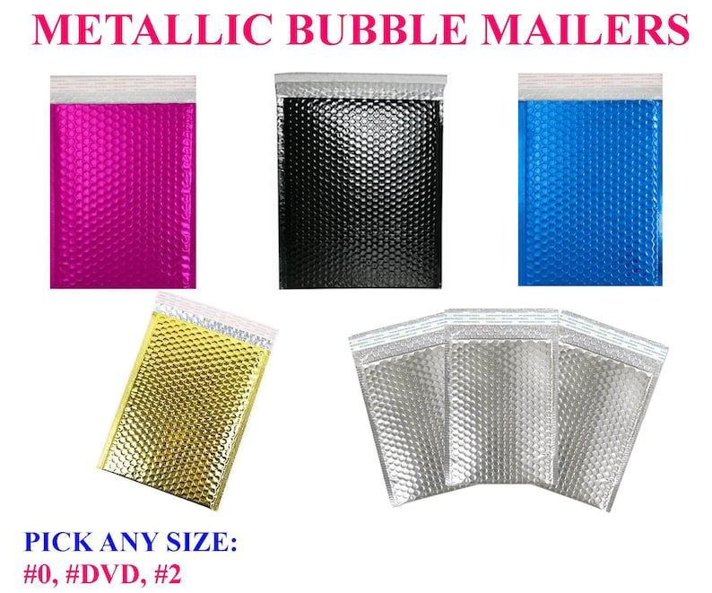 Black Gold Blue Silver Foil Mailing Shipping Bags 10 Pack Metallic Bubble Mailers Plastic Shipping Padded Colour Colorful Rose Pink