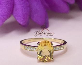 1.25ct Oval Center Citrine Ring / 8x6mm Oval Orange Citrine and Diamond Ring / November Birthstone / Birthday Gift / 14k yellow gold / R-Cit