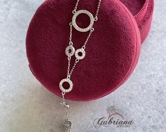 Circle Bracelet / Chain Bracelet / Minimalist Bracelet / Pave Multiple Circles / Dainty Bracelet / Mother's Day Gift / Sterling Silver / 105