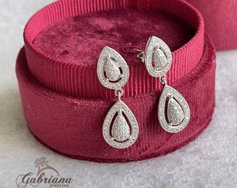 Earring / Dangling Earring / Pear Shape Pave Set Earrings / Luxury Dangling Earring / Sterling Silver / #ES100