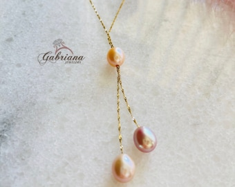 14k Yellow Gold Multicolor Fresh Water Pearl Necklace / Layering / Minimalist / Three Pearls / Dainty Lariat Style Pearl Pendant / #1102