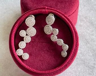 Earring / Dangling Earring / Pave set Earring / Halo Style Earring / Luxury Chandelier Earring / Dangling / Sterling Silver / #84