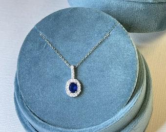 Oval Shape Blue Sapphire Pendant / Halo Pendant / Beautiful Pave Set Diamond Sapphire Necklace / September Birthstone /14k white gold /#1080