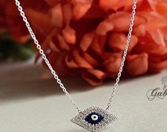 Evil Eye Necklace / Simulated Diamond Enamel Pendant / Layering / Blue Enamel / Evil Eye Protection Necklace / Sterling Silver / #PS131
