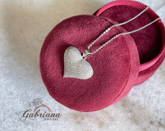 1.50tcw Heart Necklace / Heart Pendant / Pave Set Necklace / Bridesmaid Gift / Valentine's Gift / Mother's day Gift / Sterling Silver / #55