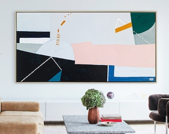Abstract Painting Original Large Acrylic Canvas Wall Art, Geometry Colorful Minimalist Modern Painting Wall Art on Canvas - Kafkaesque I