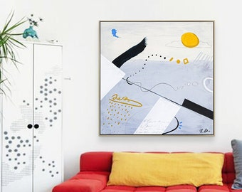 Abstract Painting Original Large Acrylic Canvas Wall Art, Colorful Minimalist Contemporary Modern Abstract Art on Canvas - Diem