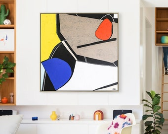 Abstract Painting Original Large Acrylic Canvas Wall Art, Colorful Modern Contemporary Minimalist Abstract Art on Canvas - Still-life M