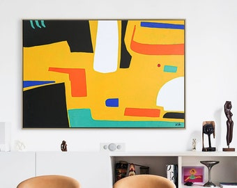Abstract Painting Original Large Acrylic Canvas Wall Art, Playful and Colorful Mid-century Contemporary Modern Abstract Art - Cogito II