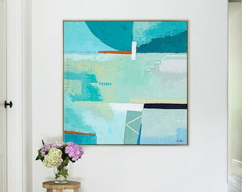 Abstract Painting Original Large Acrylic Canvas Wall Art Expressionism Green Contemporary Modern Abstract Art on Canvas - Daydream of Friday