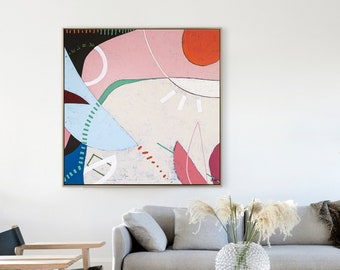 Abstract Painting Original Large Acrylic Canvas Wall Art, Peaceful Colorful Modern Contemporary Minimalist Abstract Art on Canvas - Mond