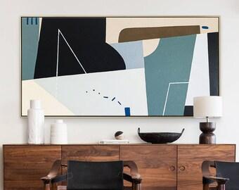 Abstract Painting Original Large Acrylic Canvas Wall Art, Geometry Colorful Minimalist Modern Painting Wall Art on Canvas - Kafkaesque II