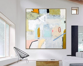 Large Abstract Painting Original on Canvas, Modern Painting Abstract, Acrylic Painting Minimalist Abstract Wall Art - Daydream of Wednesday